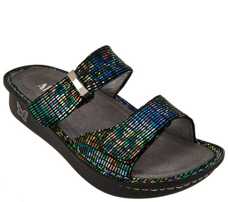 Alegria Leather Double Strap Slide Sandals - Karmen