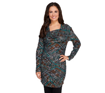 View by Walter Baker Snake Print Drape Neck Knit Tunic - A257817