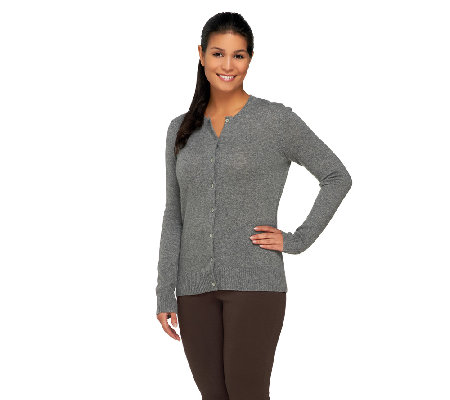 Isaac Mizrahi Live! 2-Ply Cashmere Button Front Cardigan