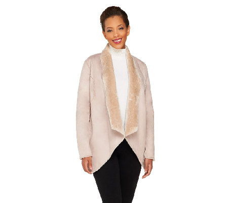 Dennis Basso Faux Shearling Drape Collar Jacket