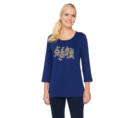 Quacker Factory Embroidered Bird Cage 3/4 Sleeve T-shirt