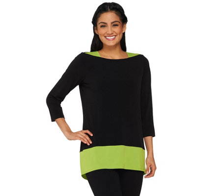 Susan Graver Liquid Knit 3/4 Sleeve Colorblock Tunic