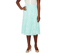 Dennis Basso Snake Print Woven Skirt with Side Zip - A262917