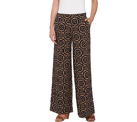 Isaac Mizrahi Live! Regular Medallion Print Wide Leg Pants