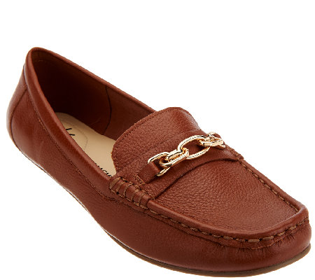 Isaac Mizrahi Live! Pebble Leather Moccasins w/ Chain Detail