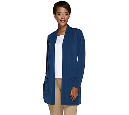 Susan Graver Liquid Knit Open Front Cardigan with Pockets