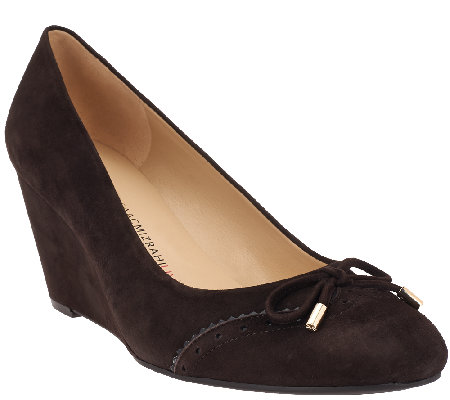 Isaac Mizrahi Live! Suede Round Toe Wedges w/ Bow Detail