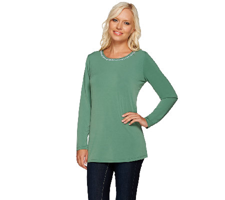 Susan Graver Artisan Liquid Knit Top with Embellishment