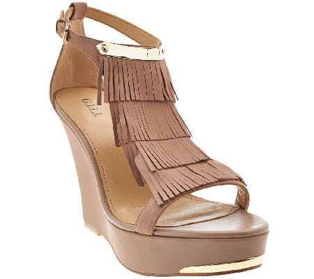 G.I.L.I. Leather Fringe Wedges - Avin