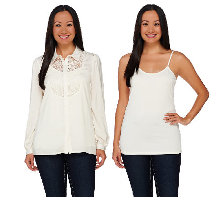Dennis Basso Button Front Lace Detail Blouse with Tank