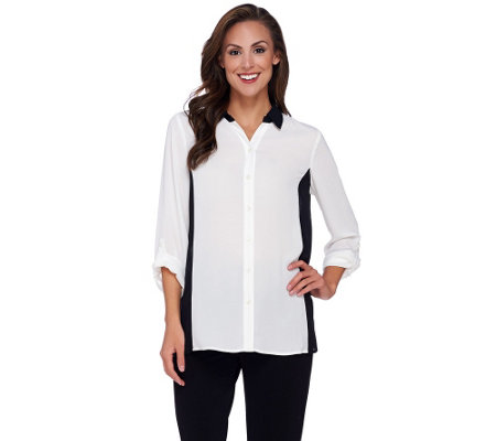 Susan Graver Feather Weave Long Sleeve Color-Block Shirt
