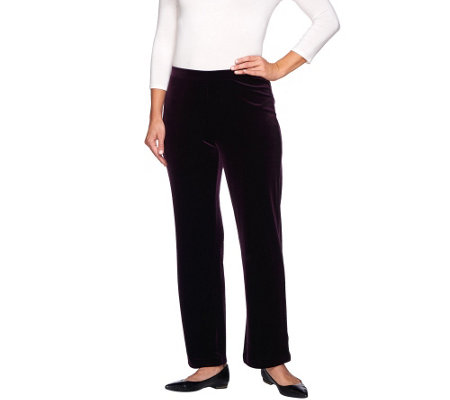 Susan Graver Stretch Velvet Comfort Waist Straight Leg Pants - Regular