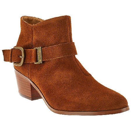 Kensie Suede Ankle Boots with Side Buckle Detail - Colten