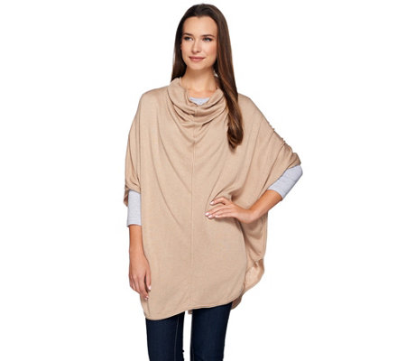 H by Halston Cowl Neck Knit Sweater Poncho