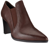 H by Halston Leather Stacked Heel Ankle Boots - Kari