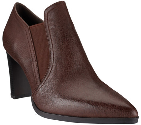 H by Halston Leather Double Gore Stacked Heel Ankle Boots - Kari