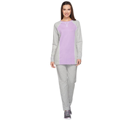 Denim & Co. Active Petite Color-Block Tunic and Pant Set