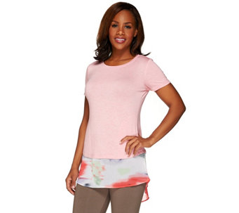 """As Is"" LOGO by Lori Goldstein Heather Knit Top with Chiffon Trim - A273217"