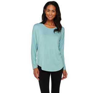 Lisa Rinna Collection Mixed Media Long Sleeve Top - A273517