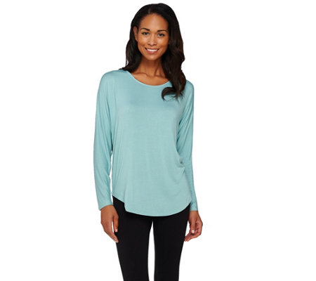 Lisa Rinna Collection Mixed Media Long Sleeve Top