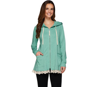 LOGO Lounge by Lori Goldstein French Terry Hoodie w/ Seams and Ruffle Trim - A274117