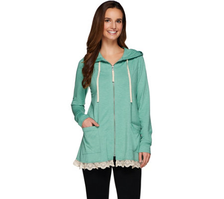 LOGO Lounge by Lori Goldstein French Terry Hoodie w/ Seams and Ruffle Trim