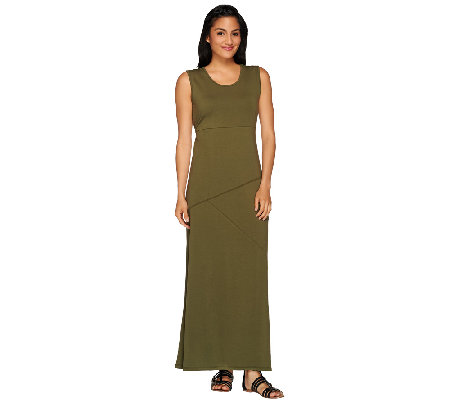 """As Is"" Denim & Co. Jersey Maxi Dress with Asymmetrical Seam"