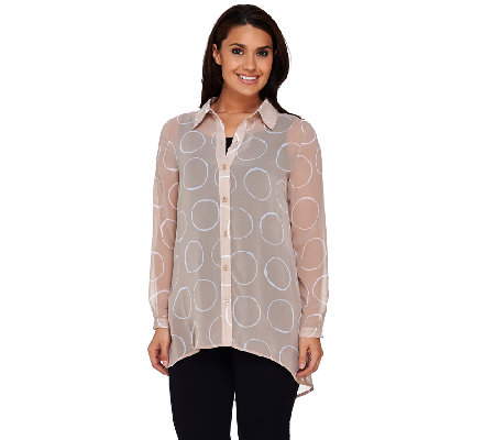 """As Is"" Susan Graver Printed Sheer Chiffon Button Front Shirt"