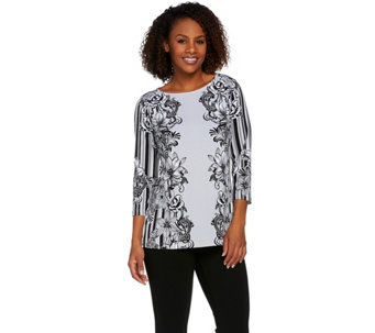 Bob Mackie's 3/4 Sleeve Floral Printed Knit Top - A275317