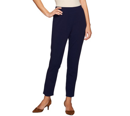 Dennis Basso Caviar Crepe Pull-On Knit Ankle Pants