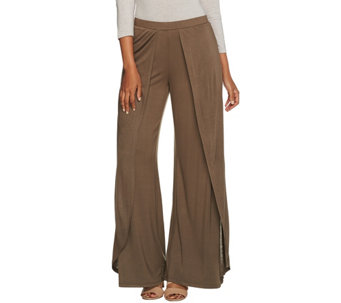 H by Halston Regular Fly Away Jersey Wide Leg Pants - A276417