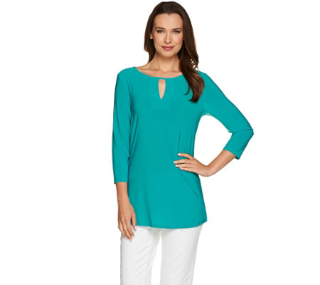 Attitudes by Renee 3/4 Sleeve Keyhole Neck Jersey Tunic