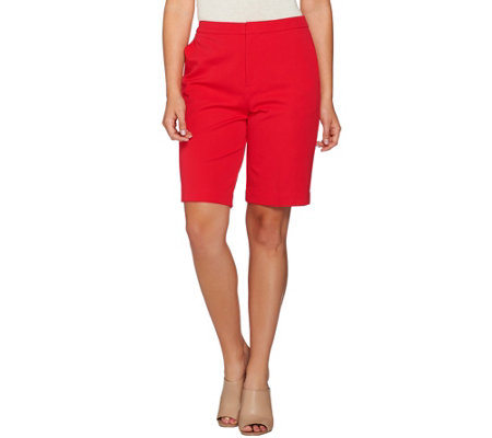 Susan Graver Coastal Stretch Zip Front Bermuda Shorts