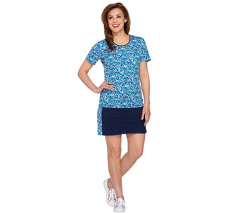 Denim & Co. Active Printed  Top and Skort Set - A277917