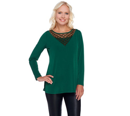 """As Is"" Susan Graver Artisan Liquid Knit Top with Embellishment"