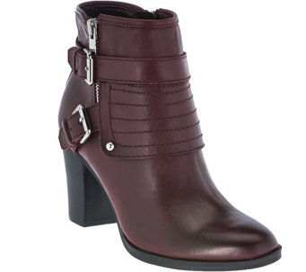"""As Is"" Marc Fisher Leather Buckle Ankle Boots - Engine - A278517"