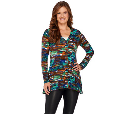 """As Is"" LOGO by Lori Goldstein Printed Knit Cardigan with Pockets"