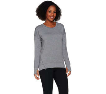Cuddl Duds Comfortwear Lounge Pullover with Zip Detail - A280217