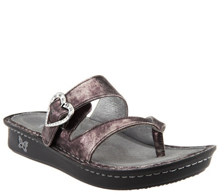 """As Is"" Alegria Leather Thong Sandals with Strap Detail - Valentina"