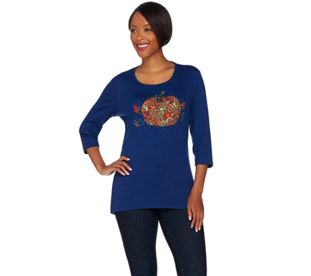 Quacker Factory Falling Leaves High-Low 3/4 Sleeve Top