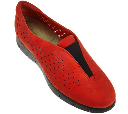 """As Is"" Clarks Artisan Nubuck Perforated Slip-Ons - Daelyn Summit"