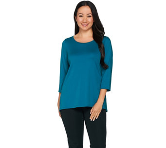 C. Wonder Essentials Pima Cotton Scoop Neck 3/4 Sleeve Top - A282717