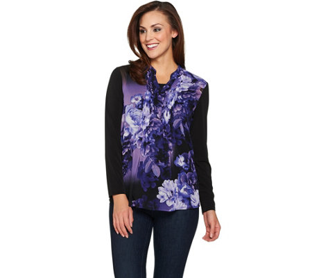 Susan Graver Liquid Knit Tunic with Printed Woven Overlay