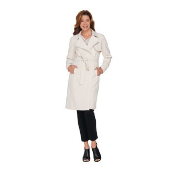 H by Halston Knee Length Trench Coat