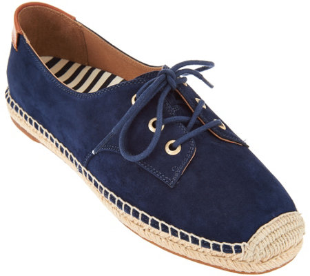 Vionic Orthotic Suede Lace-up Espadrilles - Rayne