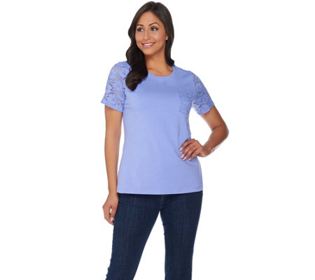 Denim & Co. Round Neck Top with Lace Short Sleeves and Pocket
