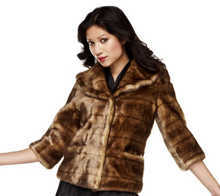 """As Is"" Luxe Rachel Zoe Faux Mink Jacket with 3/4 Sleeve"