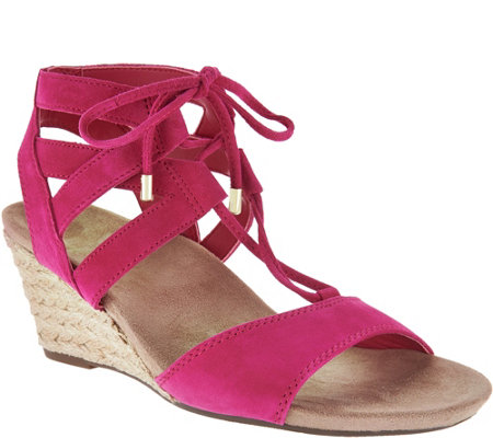 Vionic Orthotic Suede Lace-up Wedges - Tansy