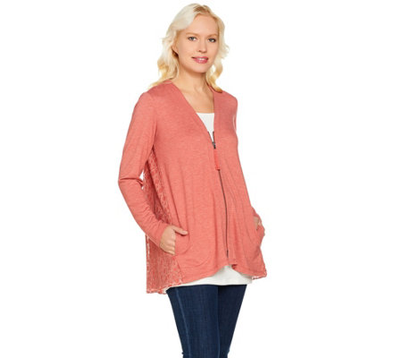 LOGO Lounge by Lori Goldstein Zip Front Cardigan with Lace Back