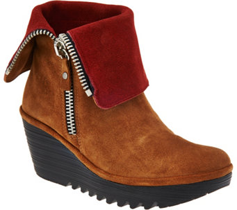 """As Is"" FLY London Suede Foldover Boots with Side Zip - Yex - A290717"